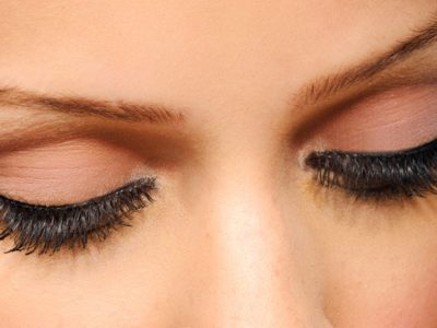 Eyelash extensions upper side eye view